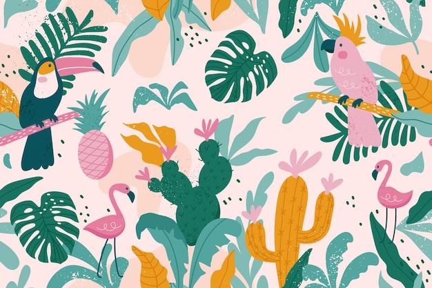 Modello senza cuciture tropicale con tucano, fenicotteri, pappagalli, cactus e foglie esotiche.