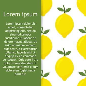 Modello senza cuciture tropicale con limoni gialli sfondo ripetuto di frutta