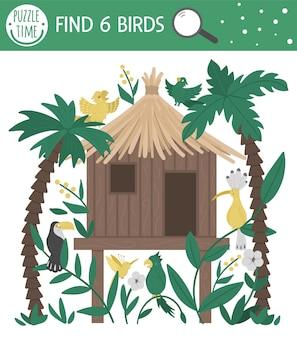 Gioco di ricerca tropicale per bambini con fischio nella giungla, pappagalli, tucano, upupa. simpatici personaggi sorridenti divertenti. trova uccelli nascosti nella casa tropicale. semplice gioco estivo.