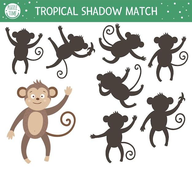 Attività di abbinamento delle ombre tropicali per bambini. puzzle della giungla prescolare. simpatico indovinello educativo esotico. trova il foglio di lavoro stampabile della sagoma di scimmia corretto.