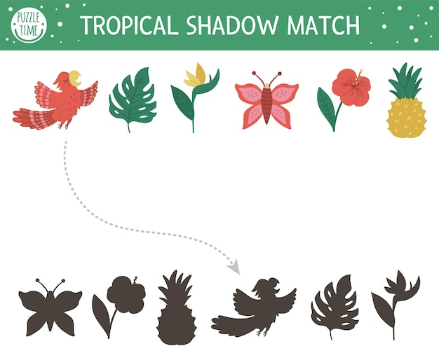 Attività di abbinamento delle ombre tropicali per bambini. puzzle della giungla prescolare. simpatico indovinello educativo esotico. trova il foglio di lavoro stampabile della sagoma del simbolo tropicale corretto.