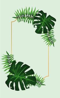 Cornice quadrata tropicale dorata decorativa con foglie verdi