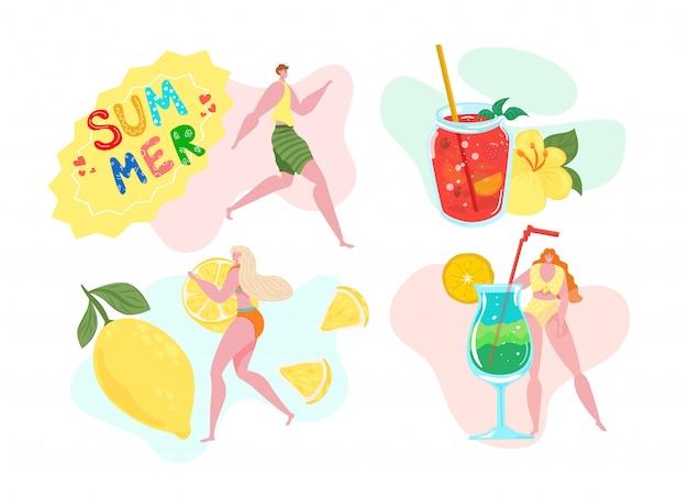 Insegna tropicale di estate, illustrazione. donna al cocktail party sulla spiaggia, la gente beve acqua di frutta al concetto di vacanza carattere di persona con bicchiere di succo freddo, sfondo evento di bevande