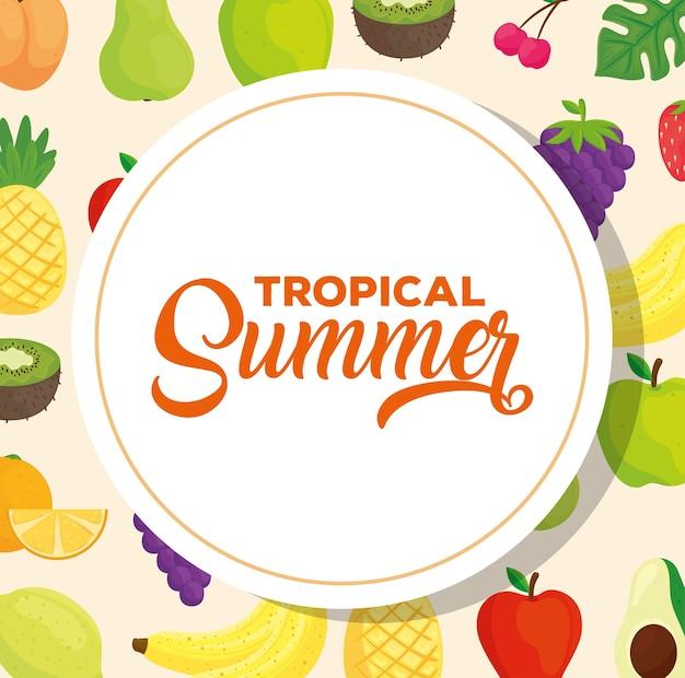 Banner estivo tropicale, con frutta fresca