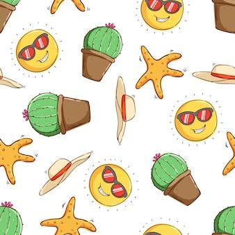 Concetto di estate tropicale in seamless pattern cactus stella marina cappello da spiaggia e sole cartoon