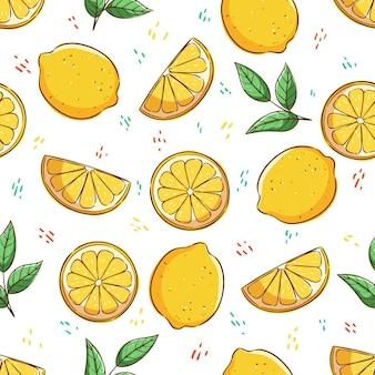 Concetto di estate tropicale nel modello senza cuciture fetta di limone e foglie di limone