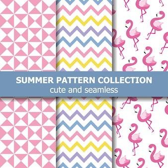 Collezione di modelli estivi tropicali. tema fenicottero, banner estivo. vettore