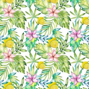 Modello estate tropicale con fiori ad acquerelli