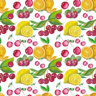 Modello estate tropicale con frutti ad acquerelli