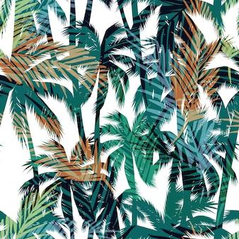 Stampa estiva tropicale con palmo.