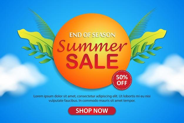 Collezione di modelli di banner di vendita estiva tropicale