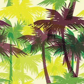 Stampa estiva tropicale senza soluzione di continuità con palmo.
