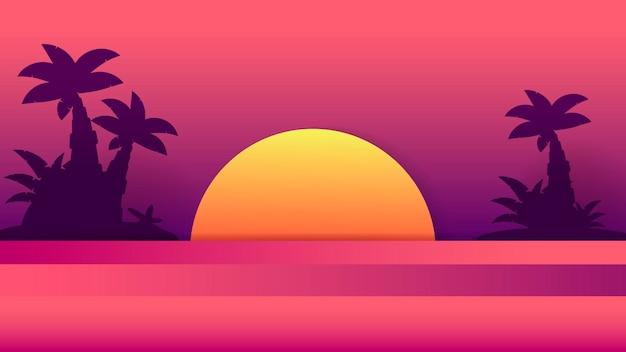 Tramonto tropicale. illustrazione di estate. tramonto logo vettoriale. disegno di sfondo. summer beach design.tropical palma, sfondo spiaggia.