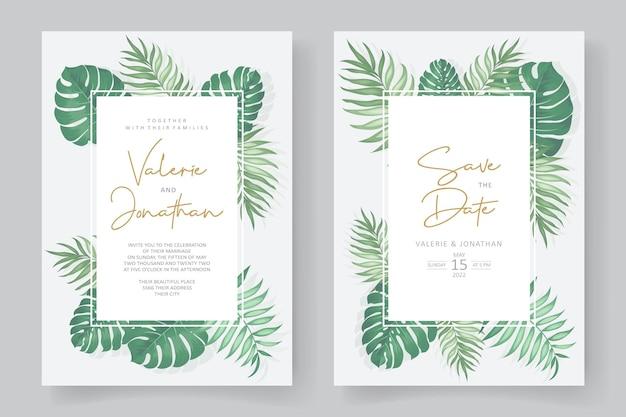 Design per inviti di nozze a tema tropicale