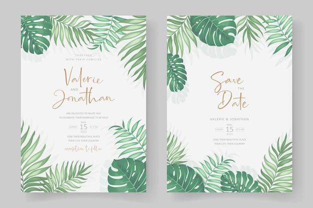 Design per inviti di nozze a tema tropicale Vettore Premium