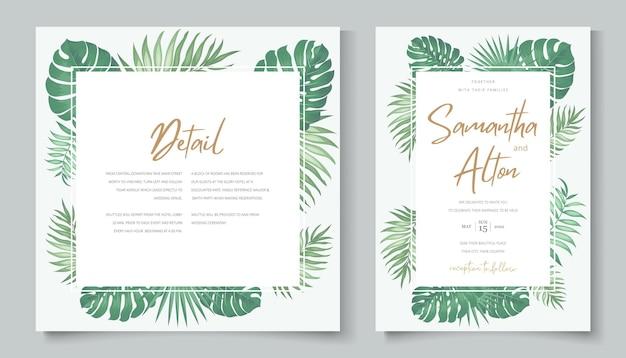 Modello di invito a nozze a tema tropicale Vettore Premium