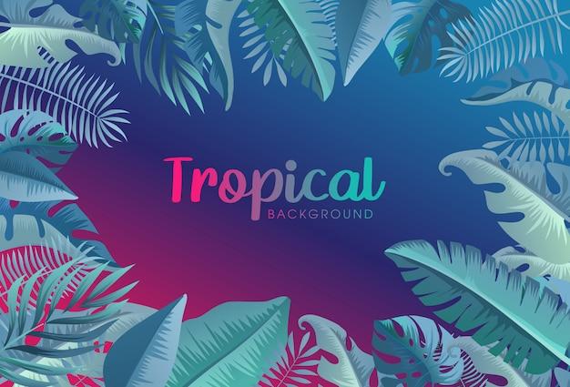 Sfondo al neon alla moda tropicale