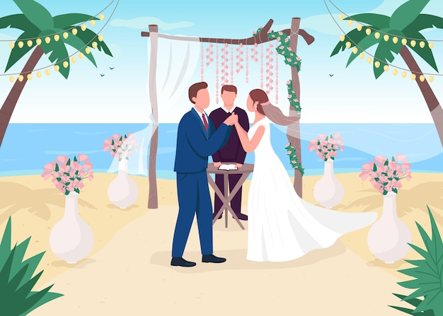 Illustrazione di colore piatto di cerimonia di matrimonio tropicale