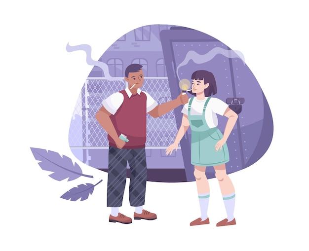 Adolescenti turbati composizione piatta con adolescenti fumatori e ragazzo in uno scenario di strade secondarie