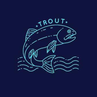 Pesce trota che salta fuori dall'acqua. tatuaggio silhouette in background.
