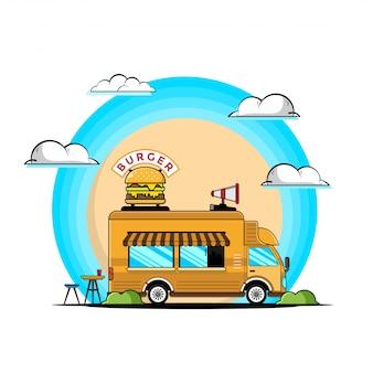 Hamburger di camion con illustrazione di icone di pasto.