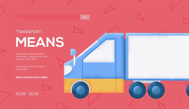 Volantino del concetto di auto per camion, banner web, intestazione dell'interfaccia utente, entra nel sito. .
