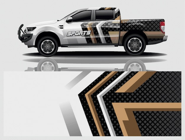 Vettore di progettazione dell'involucro della decalcomania dell'automobile del camion