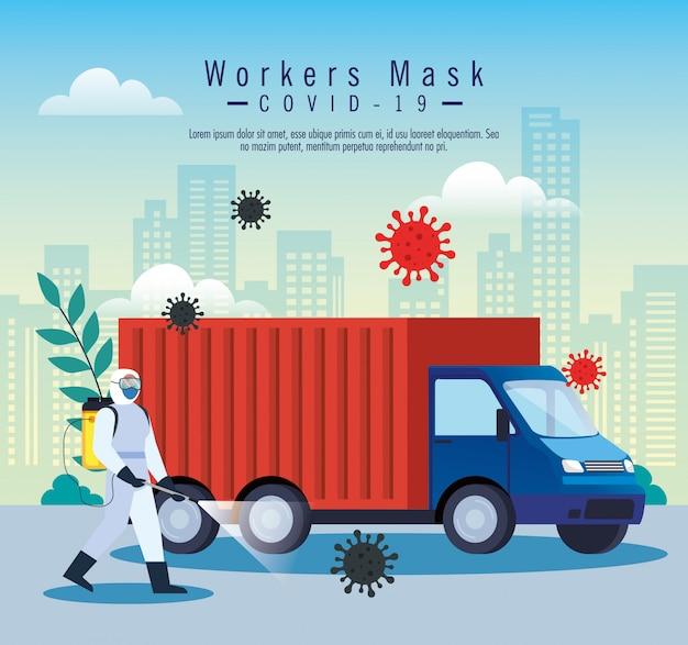Servizio di disinfezione auto camion, prevenzione coronavirus, superfici pulite in auto con spray disinfettante, persona con tuta a rischio biologico