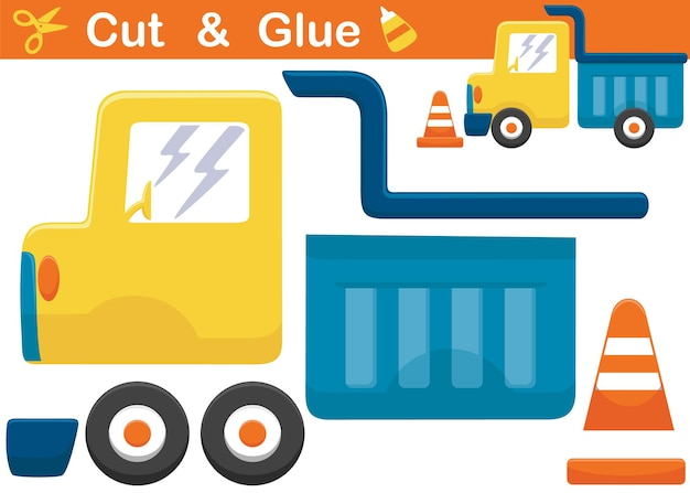Cartone animato camion con cono stradale. gioco di carta educativo per bambini. ritaglio e incollaggio