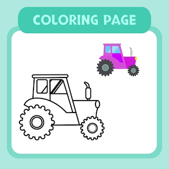 Camion da colorare pagina premium vettoriale per bambini e collezione