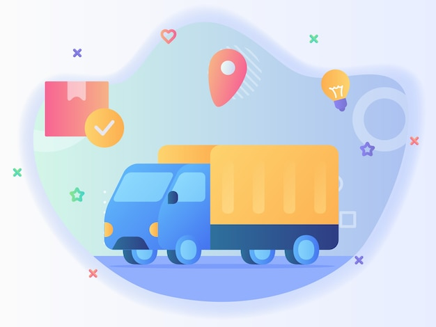 Lampadina di posizione del punto del pacchetto della scatola dello sfondo dell'icona di consegna del camion con il disegno di vettore di stile piano