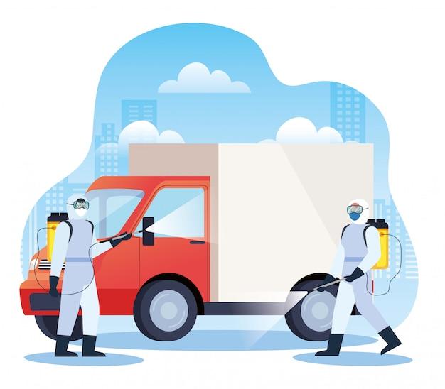 Servizi di disinfezione per camion per la progettazione di illustrazione di malattie 19 covid Vettore Premium