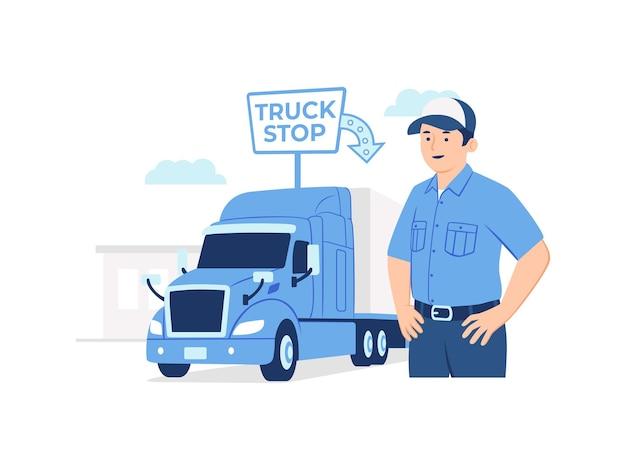 Autista di camion che sta davanti al suo trasportatore del carico dell'impianto di perforazione del rimorchio del camion all'illustrazione di concetto di area di sosta della fermata del camion
