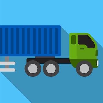 Simbolo del segno di vettore isolato illustrazione piana dell'icona del camion