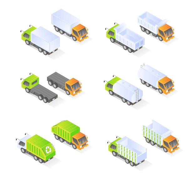 Icona del camion con pacchetto di stile isometrico o set vettore premium moderno