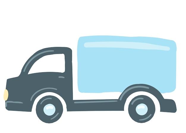 Il camion è blu isolato auto disegnata a mano in stile cartone animato illustrazione vettoriale trasporto di merci