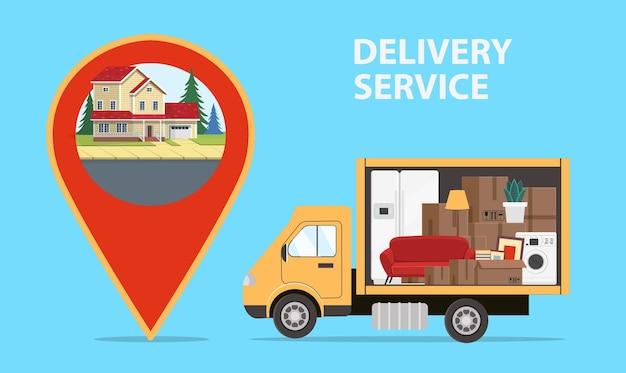 Il camion sta trasportando cose sulla grande icona della posizione della mappa con una casa all'interno concetto di servizio di consegna per la compagnia di trasporti per l'illustrazione del trasferimento in stile piano