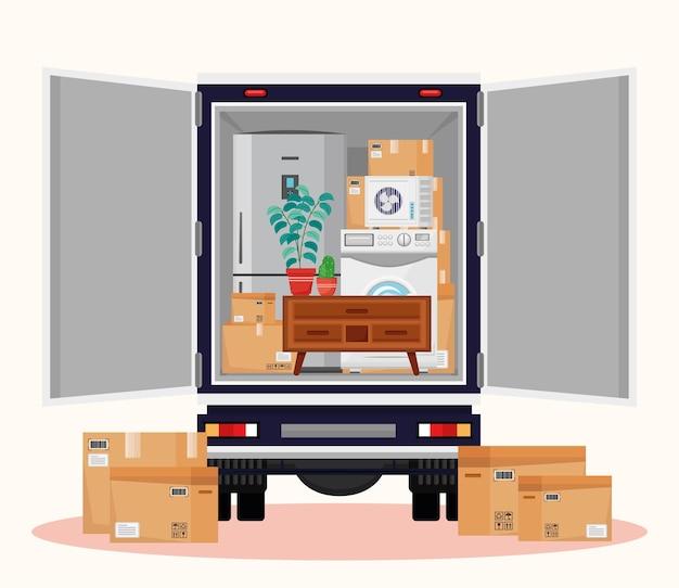 Illustrazione di camion e oggetti in movimento