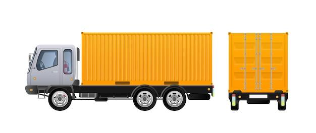 Vista laterale del camion. consegna del carico. design a colori solidi e piatti
