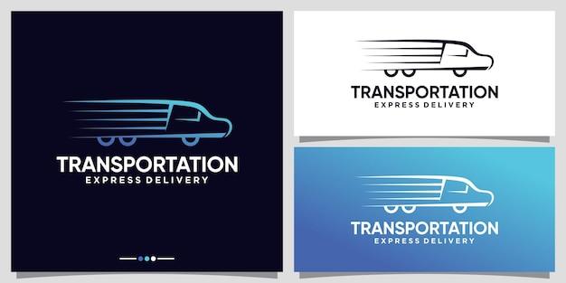 Ispirazione per il logo del trasporto su camion per le attività di consegna con un concetto creativo vettore premium