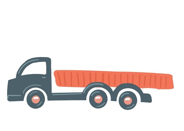 Un camion con un corpo rosso isolato auto disegnata a mano in stile cartone animato illustrazione vettoriale cargo