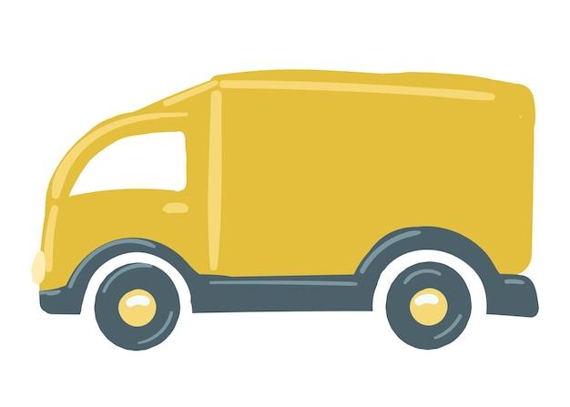Un camion con un corpo giallo isolato auto disegnata a mano in stile cartone animato illustrazione vettoriale cargo