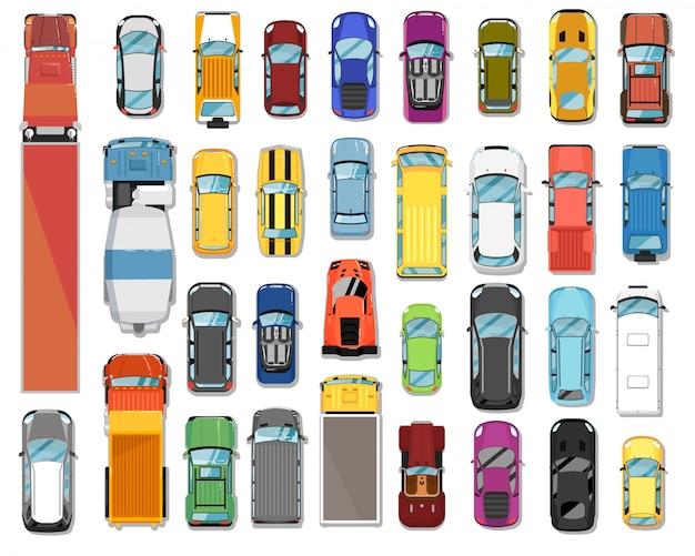 Vista dall'alto di camion e auto. varie automobili e camion set di veicoli a motore. vista dall'alto della collezione di camion e auto. trasporto automobilistico e concetto dell'industria automobilistica
