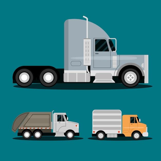 Camion rimorchio, immondizia e servizio di consegna di trasporto, illustrazione di veicoli vista laterale
