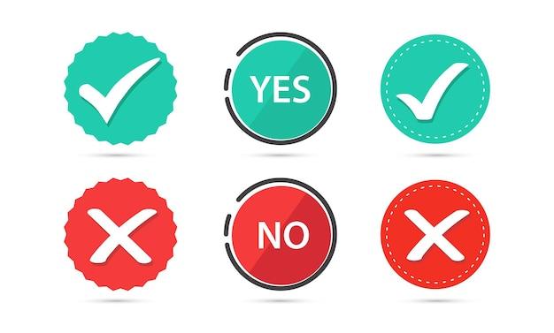 Pulsante piatto vero e falso segno di spunta verde e pulsante croce rossa sì o no
