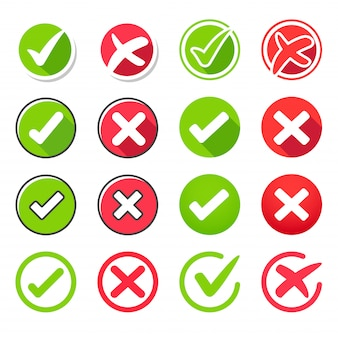 Set di icone vero e falso Vettore Premium
