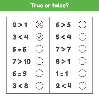 Vero o falso. più, meno o uguale. gioco di matematica educativo per bambini in età prescolare e in età scolare.