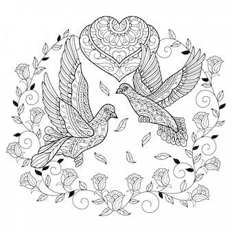 Vero piccione d'amore. illustrazione di schizzo disegnato a mano per libro da colorare per adulti
