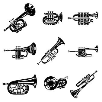 Set di icone tromba, stile semplice