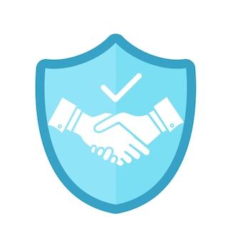 Trust handshake segno su sfondo bianco accordo e partnership commerciale